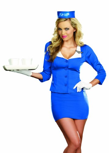 Dreamgirl Fly Me Airline Stewardess Costume , Blue, X-Large