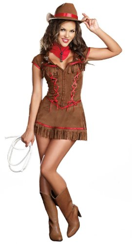 Dreamgirl Giddy Up Cowgirl Costume, Brown, Large