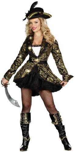 Dreamgirl Golden Treasure Pirate Dress, Black/Gold, Medium