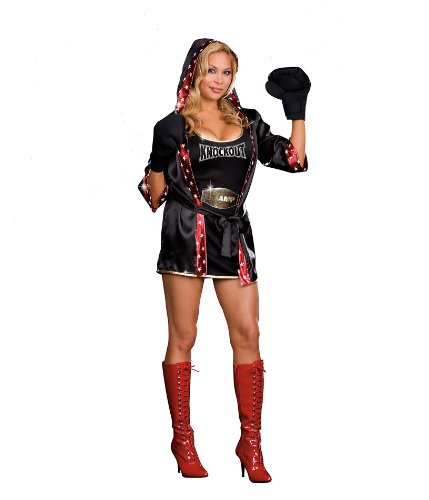 Dreamgirl Knock Out Boxer Costume with Robe, Black, X-Large