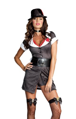 Dreamgirl Mobster Boss Gangster Costume, Black/White, Small