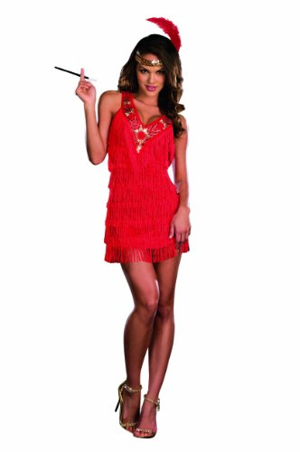 Dreamgirl On The Fringe Flapper Costume, Red, Medium