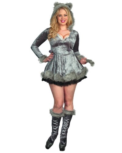 Dreamgirl Plus Big Bad Sexy Wolf Dress, Gray, 1x/2x
