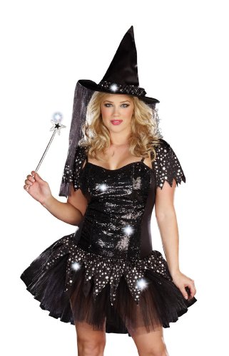 Dreamgirl Plus Starry Night Witch Costume, Black, 3X/4X