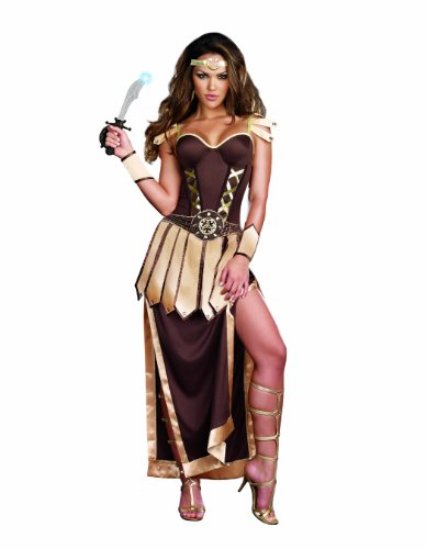 Dreamgirl Remember The Trojans Warrior Gladiator Costume, Brown/Gold, X-Large