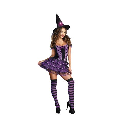 Dreamgirl Spellbound Witch Costume, Purple, Large