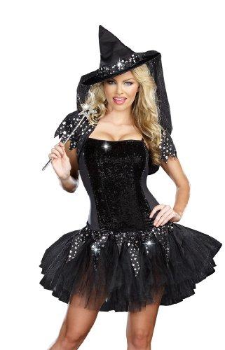 Dreamgirl Starry Night Witch Costume, Black, Medium