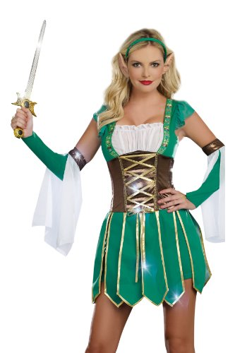 Dreamgirl Warrior Elf, Green, Large