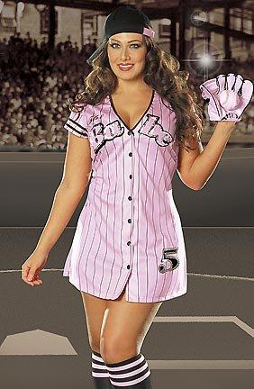 Dreamgirl Women's Babe Baseball Costume, Pink, 3X/4X