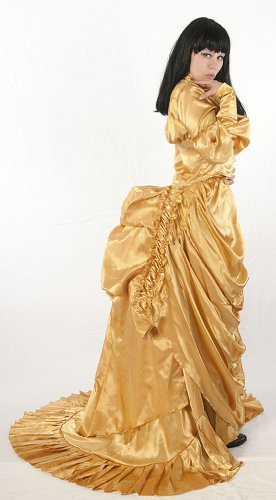 "Dress Like A Pirate Brand ""1869"" Satin Bustle Skirt Real Clothing not Costume (UK24, New Gold)"