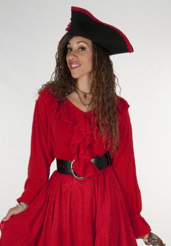 Dress Like A Pirate Brand Light and Flowy Poet Blouse (XXL, Red)