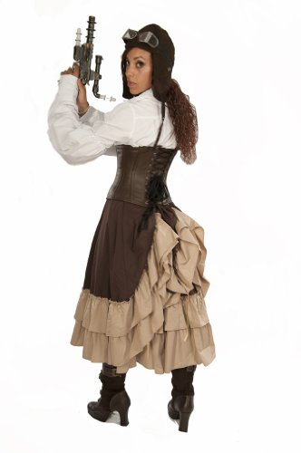 Dress-Like-A-Pirate-Brand-Steampunk-Victorian-2-Layer-Adjustable-Mid-Length-Persephone-Bustle-Skirt-KhakiBrown-UK14-0-3