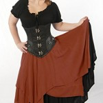 Dress-Like-A-Pirate-Brand-Two-Layer-8-Point-Crinkle-Gauze-Gypsy-Skirt-Plus-Rust-0-0