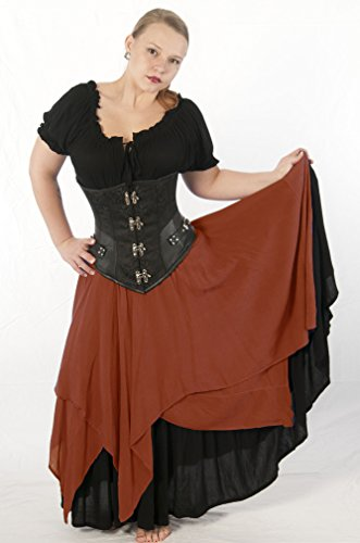 Dress Like A Pirate Brand Two Layer 8 Point Crinkle Gauze Gypsy Skirt (Plus, Rust)