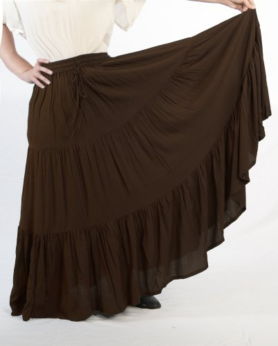 Dress Like A Pirate Romantic Renaissance Peasant Skirt-Brown-One Size