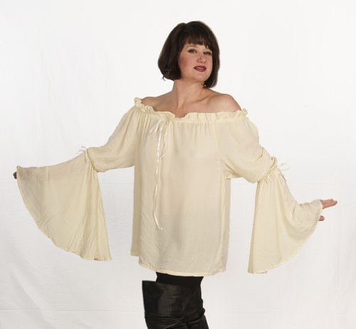 Dress Like A Pirate Wench Renaissance Bell Sleeve Blouse (O/S, Ivory)
