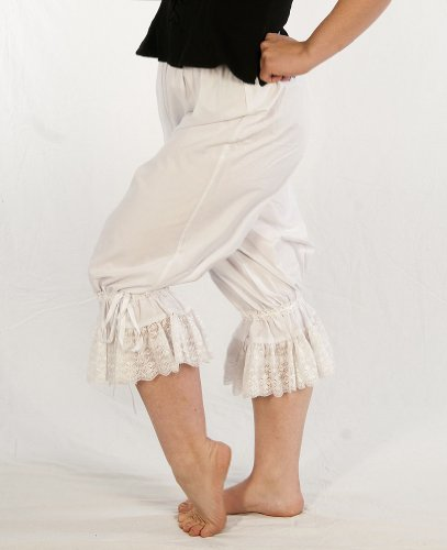 Dress Like A Pirate Wench Renaissance Steampunk Cotton Bloomers (Large, Antique White)