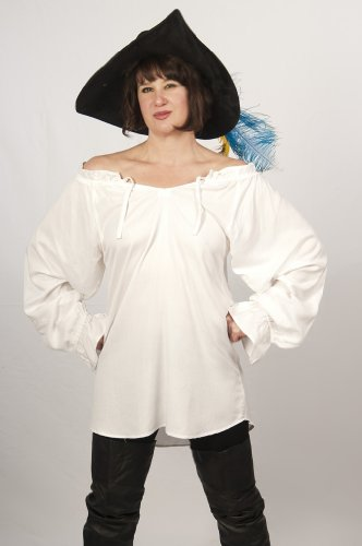 Dress Like A pirate Renaissance Peasant Blouse (S/M, White_)
