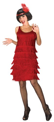 Flapper Adult Costume, Red, Women Medium