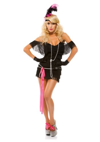 Forplay Women's Foxy Fringe Dress, Black/Pink Accents, Medium/Large