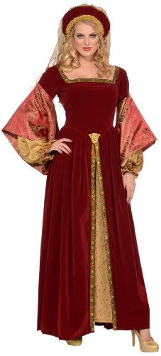 Forum Deluxe Designer Collection Anne Boleyn Costume Dress and Headband, Red/Gold, X-Large