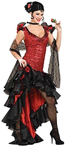 Forum Deluxe Designer Collection Spanish Dancer Costume, Black/Red, Large
