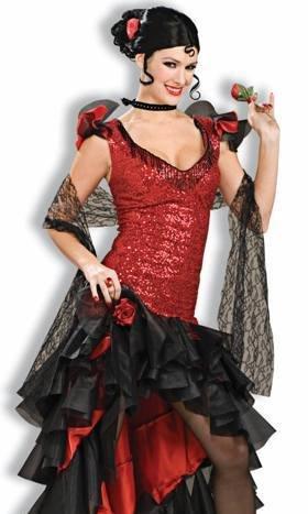 Forum Deluxe Designer Collection Spanish Dancer Costume, Black/Red, X-Large