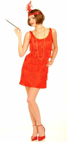 Forum Novelties Roaring 20's Flapper Dress and Headband, Red, Medium/Large Costume