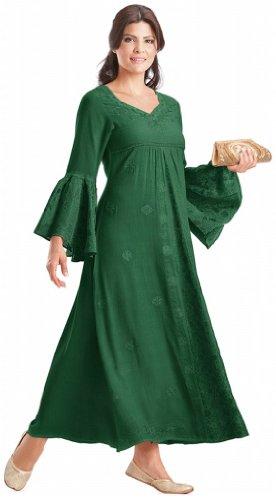 HolyClothing Liana Princess Neck Renaissance Medieval A-Line Dress – X-Large – Forest Green