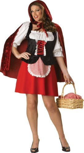 InCharacter Costumes, LLC Red Riding Hood Adult Plus Peasant Dress, Red/White/Black, XX-Large
