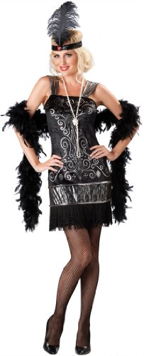 InCharacter Costumes, LLC Women's Flirty Flapper Costume, Black, Medium