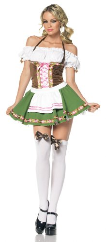 Leg Ave Women's 2 Piece Gretchen Includes Dress With Trim And Stockings With Bows, Brown/Green, Medium