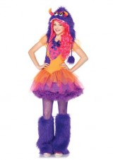 Leg-Avenue-2-Piece-Furrrocious-Frankie-Dress-And-Furry-Monster-Hood-With-Pom-Pom-Ties-OrangePurple-SmallMedium-0-0