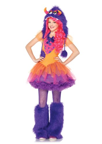 Leg Avenue 2 Piece Furrrocious Frankie Dress And Furry Monster Hood With Pom Pom Ties, Orange/Purple, Small/Medium