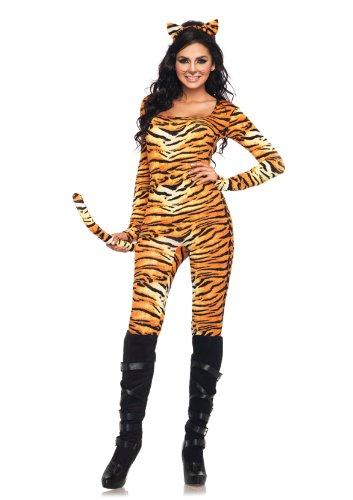 Leg Avenue 2 Piece Wild Tigress Catsuit With Tail And Matching Ear Headband, Orange/Black, Small/Medium