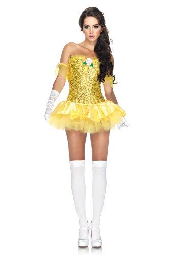 Leg Avenue 3 Piece Enchanting Beauty Sequin Corset Tutu Skirt, Yellow, Large