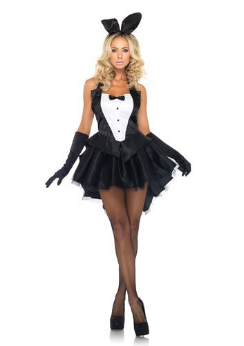 Leg Avenue 3-Piece Tux And Tails Bunny Tuxedo Costume, Black/White, Small/Medium