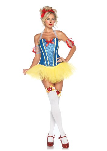 Leg Avenue 4 Piece Sultry Snow Sequin Corset Tutu Skirt With Headband, Yellow/Blue, Large