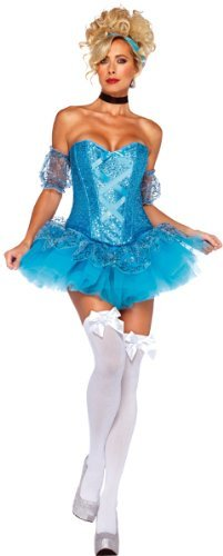 Leg Avenue 5 Piece Cinderella Sequin Corset Tutu Skirt With Arm Puffs Choker Headband, Aqua, Large