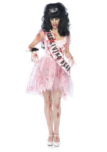 Leg Avenue Costumes 3Pc.Putrid Queen Bloody Tattered Prom Dress Sash Crown Women's, Pink, Small/Medium