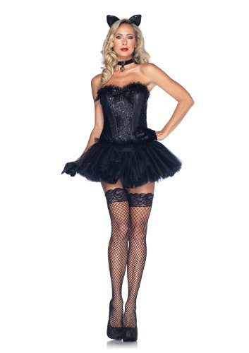 Leg Avenue Costumes 4Pc.Black Cat Babe Sequin Corset Tutu Skirt Tail Choker Ear Headband, Black, Medium