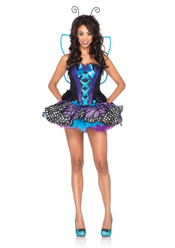 Leg Avenue Costumes 4Pc.Emperor Butterfly Corset Print Skirt Wings Antennae Headband, Purple, Large