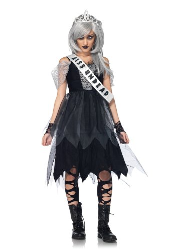 Leg Avenue Costumes 4Pc.Zombie Prom Queen Dress Sash Fingerless Gloves Tiara, Black, Small/Medium