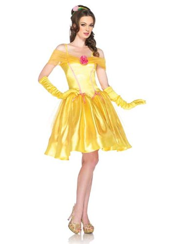 Leg Avenue Disney 2Pc.Princess Belle Off The Shoulder Satin Dress and Headpiece, Yellow, Small