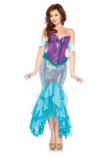 Leg Avenue Disney 3 Pc. Deluxe Ariel Includes Corset Straps and Skirt, Aqua/Purple, Large