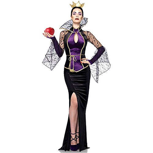 Leg Avenue Disney 3Pc.Evil Queen Includes Dress Belt and Crown Head Piece, Black, Small