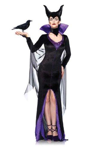 Leg Avenue Disney 3Pc.Maleficent Dress Stay Up Collar and Head Piece, Black, Medium