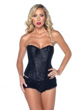 Leg-Avenue-Sexy-Sequin-Corset-Support-Boning-Hook-And-Eye-Back-Black-Large-0-0