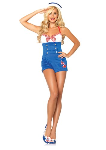 Leg Avenue Women's 2 Piece High Seas Honey Romper Dress With Woven Anchor And Sailor Hat, Multi, Small