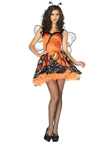 Leg Avenue Women's 2 Piece Lovely Monarch Dress With Layered Skirt And Head Piece, Orange/Black, Small